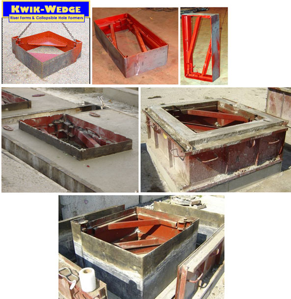 Kwik Wedge rectangular holeformers, catch basins and riser forms